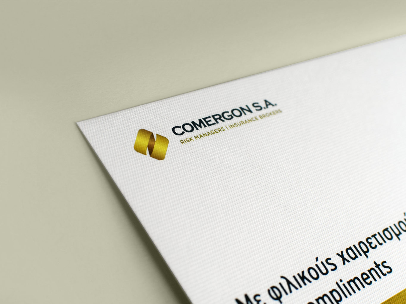 Comergon Risk Managers with compliments cards