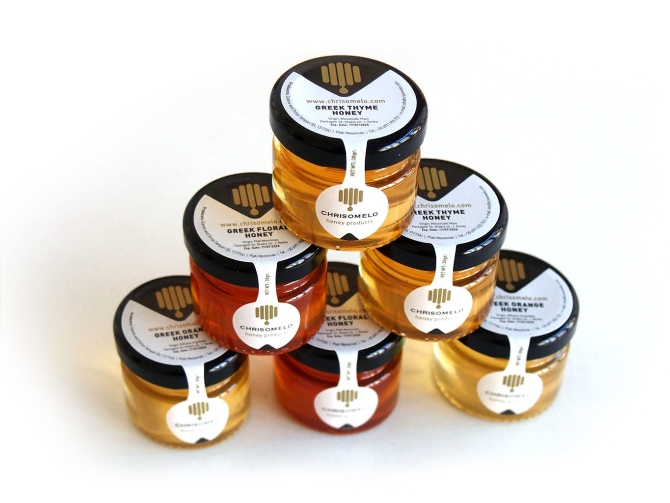 Chrisomelo honey packaging