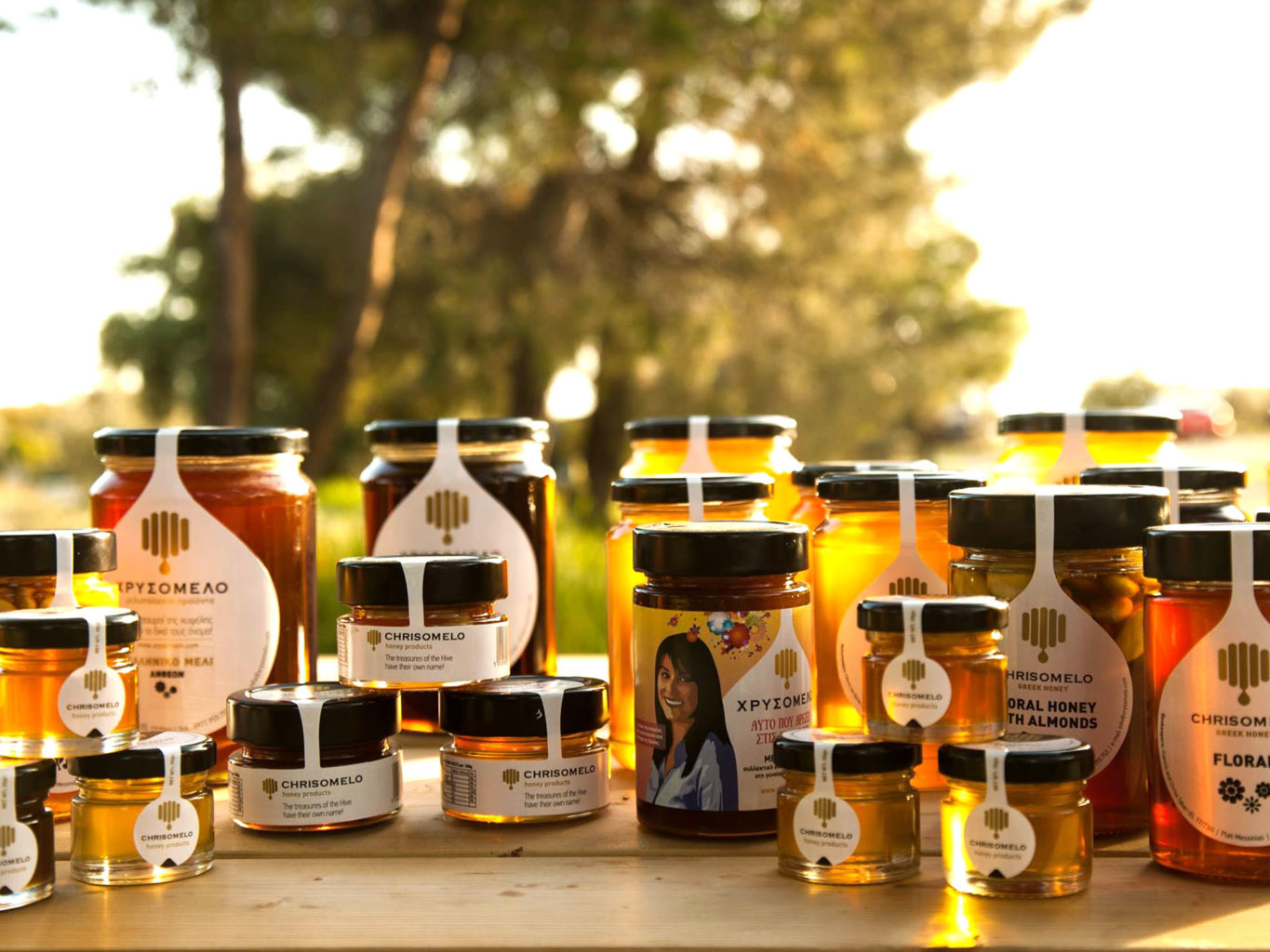 Chrisomelo honey labels packaging