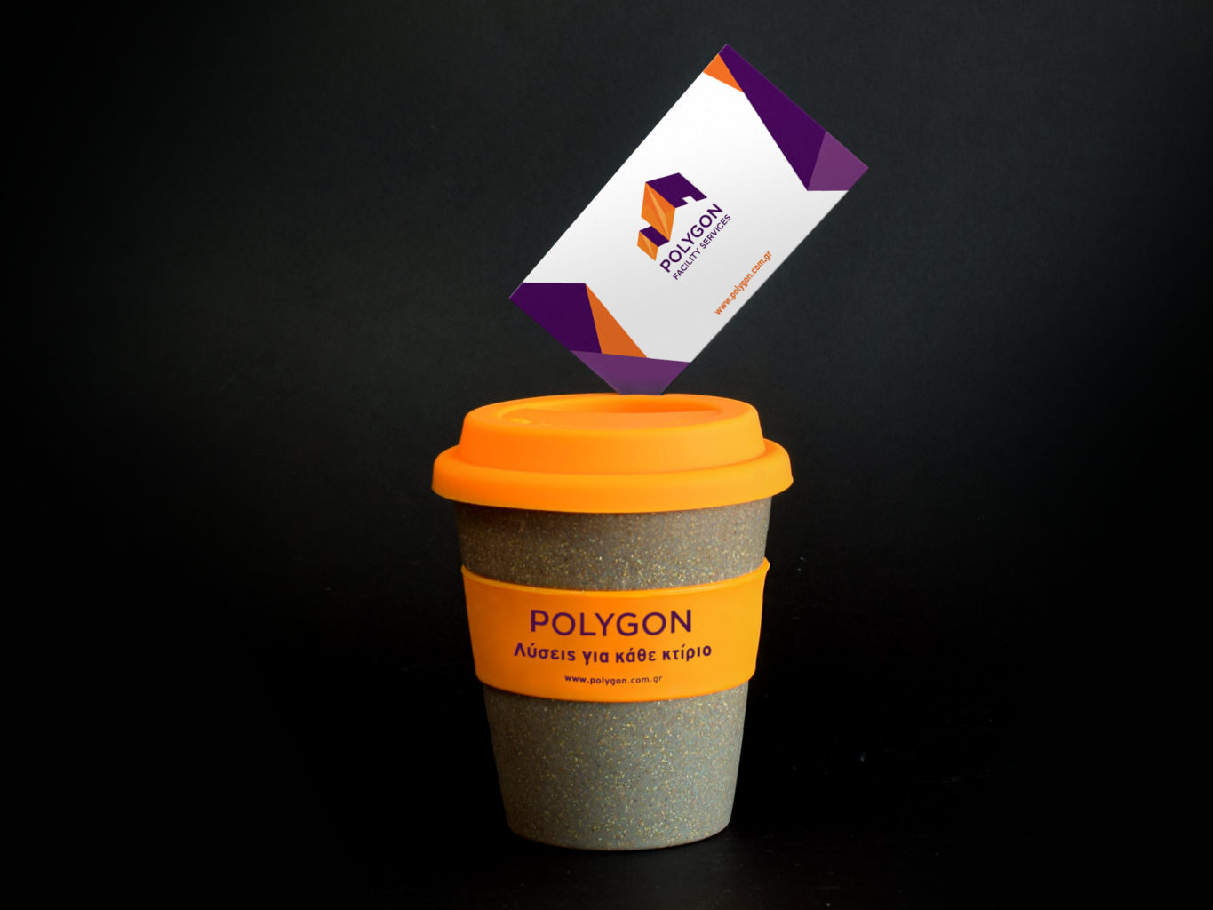 polygon facility services cup and business card with their logo